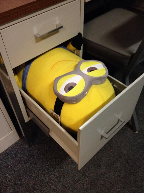 Even @lauranh's Minion is #Riccing in @CaitlinFertal's old desk http://t.co/G8HKr7bJfp