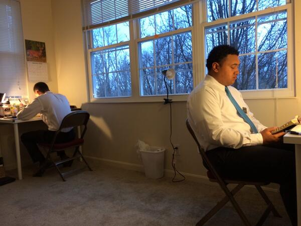Elder Waite (St. David, Ariz.) and Elder Tavake study scriptures daily to start their day #socialmediasplit #mormon http://t.co/SmsuswK2Jc