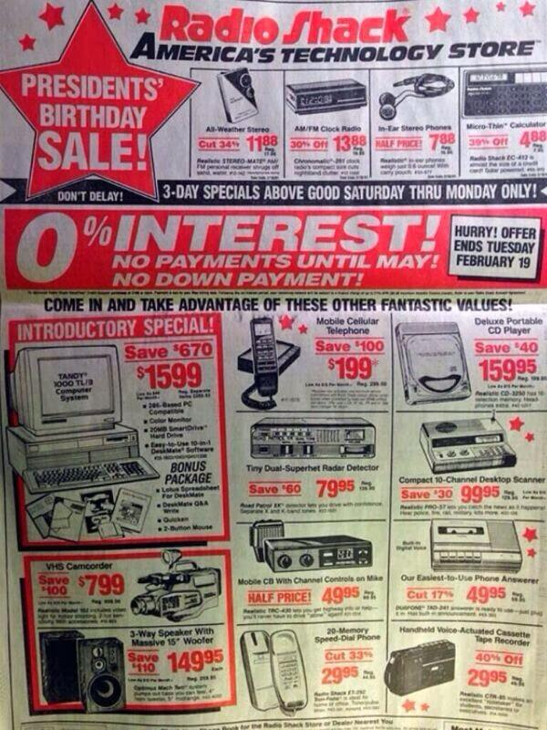 Everything in this 1991 Radio Shack ad can be done on my iPhone. http://t.co/32H6CRDuqe