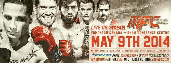 #RT #MFC40 LIVE FRIDAY MAY 9 @EdmontonSCC ON SALE NEXT WEEK 3 WORLD TITLES LIVE ONLY ON @AXSTV YOUR HOME FOR #MMA http://t.co/gurHOp4CpR