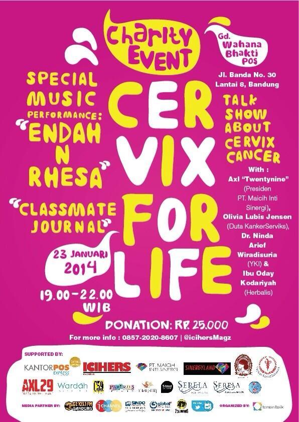 Yuk, dtg ke #CERVIXFORLIFE ada talkshow seputar Kanker Serviks & perform dari @endahNrhesa | Info: @icihersmagz http://t.co/uJa7M3YSXW