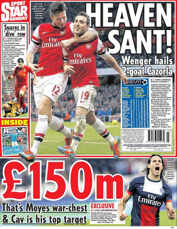 Sunday Star say Man United to spend £150m on Cavani, even though striker says hes happy at PSG