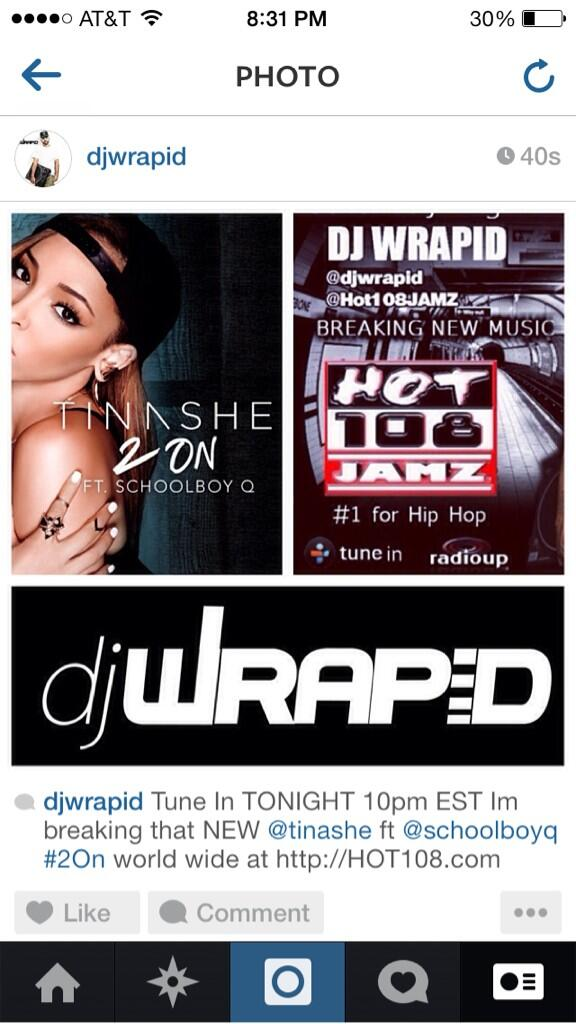 @DJWrapid got that NEW @Tinashe Single #2On tune in 10pm EST world wide at http://t.co/G5wiklvtwc http://t.co/tJR304BGmK