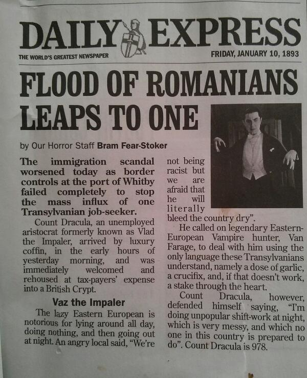 Private Eye spoof of Count Dracula moving from Romania to the UK to 'bleed the country dry' http://t.co/0qxd9uwl2P