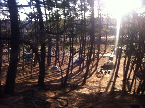 All tents up at the ISF TX campsite,1st group of crew members here.The fun begins! Tree planting in am #ISFCommCrew http://t.co/nVGnOlXVjz