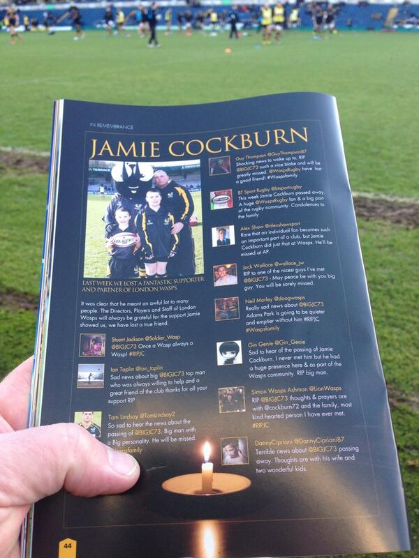 @cockburn72 A lovely tribute to Jamie in the programme today. Hope you're all well x http://t.co/BzVAVF2iKe