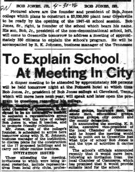 Fall 1947 arrival of Bob Jones Sr's university. #YeahThatGreenville #MLKDay2014 http://t.co/ioA95yQfka
