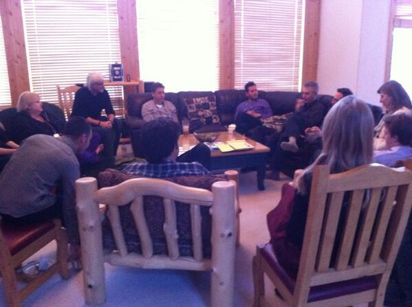 Calm before the storm: the #LifeItself morning team meeting. #sundance http://t.co/4bNY6ABcVl