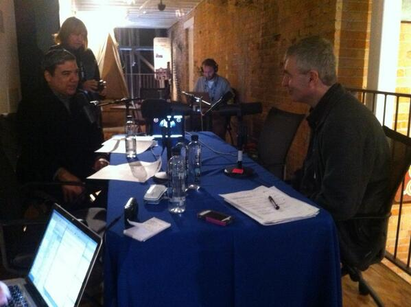 Steve James and @eug chatting @EbertMovie for @FSDailyBuzz. #sundance http://t.co/EVJkdsYLf3
