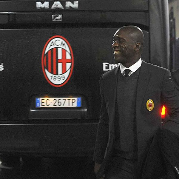 New AC Milan manager Clarence Seedorf arrives at the San Siro ahead of his first game in charge