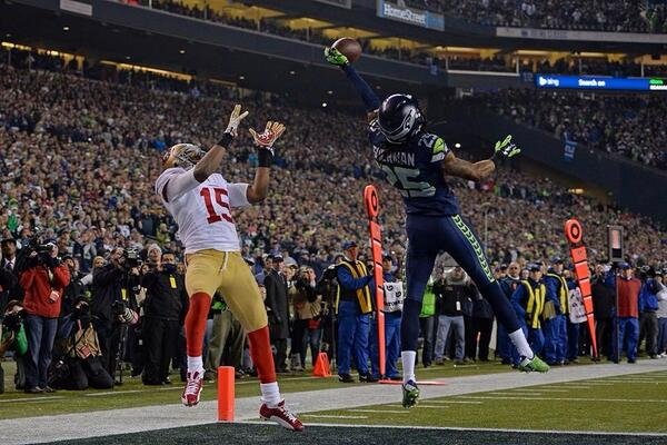 Sherman knocks down TD pass to Crabtree sending @Seahawks to #SuperBowl @MercPurdy @CamInman @BANG_Sports @49ers http://t.co/APDim22Ne7