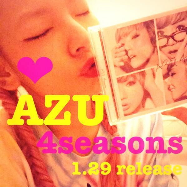 日付変わって今日!  AZUのnew album 4seasons  フラゲできるよ!!  I LOVE YOU TOO ft.MIKU a.k.a tomboyも収録されてて、初回はDVD(MV)付き! みんなゲットしてね❤︎ http://t.co/6XN5DxYli6