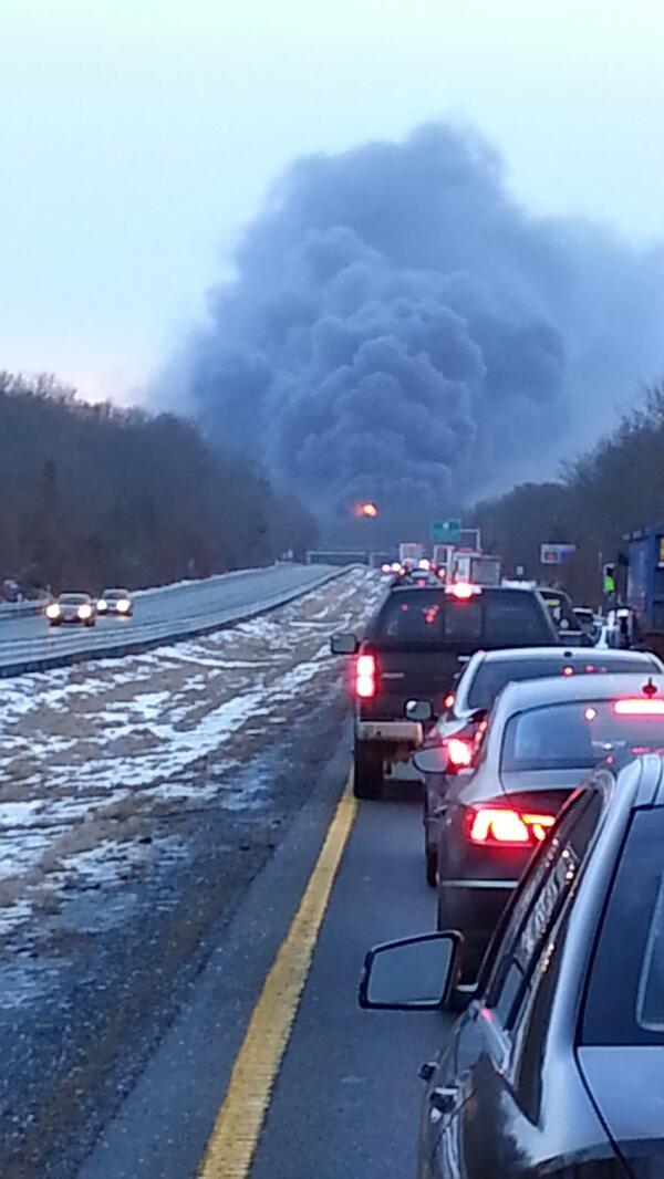 Route 24 in Fall River - fire after tractor trailer rollover at Pres. Rd #fox25 http://t.co/s0xMRMOS9n