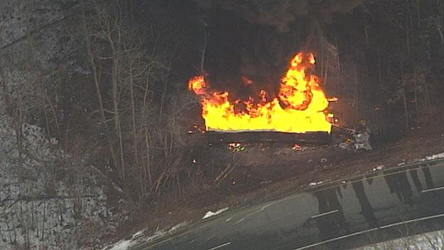 Twitter / cbsboston: Tanker Truck Rolls Over, Catches ...