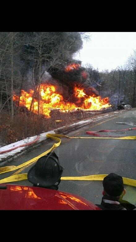 Pic from scene  route 24s of gas tanker mva in fall river, mass http://t.co/SHOG5LxpHW