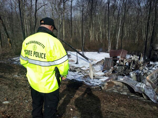 Trooper Palmer inspecting wreckage of tanker carrying gasoline that rolled over on ramp on Rt24 in Fall River. http://t.co/jETAKul0DH
