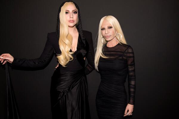 Glamorous duo @ladygaga and Donatella Versace backstage at the #AtelierVersace SS14 show. #VersaceLovesGaga #LadyGaga http://t.co/XJhb39XSJ4