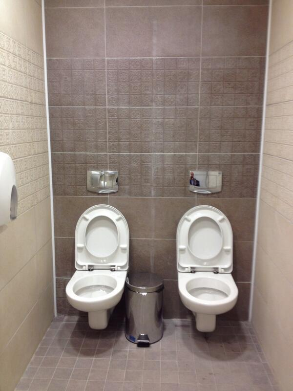 Brilliant! Does it count as improved or shared #sanitation tho? MT @BBCSteveR: Seeing double in gents loo at #Sochi http://t.co/mrFxCj2nXY