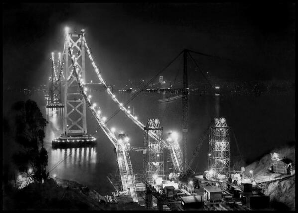 Gorgeous! RT @BeschlossDC Here San Francisco Bay Bridge under construction at night, 1935:  #SFImages http://t.co/RLqoryemmo