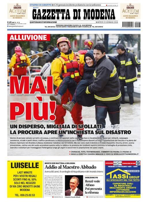 #Modena #AlluvioneMo #AllertaMeteoEr la #primapagina @gazzettamodena di oggi MAI PIU' http://t.co/begCqirPQP