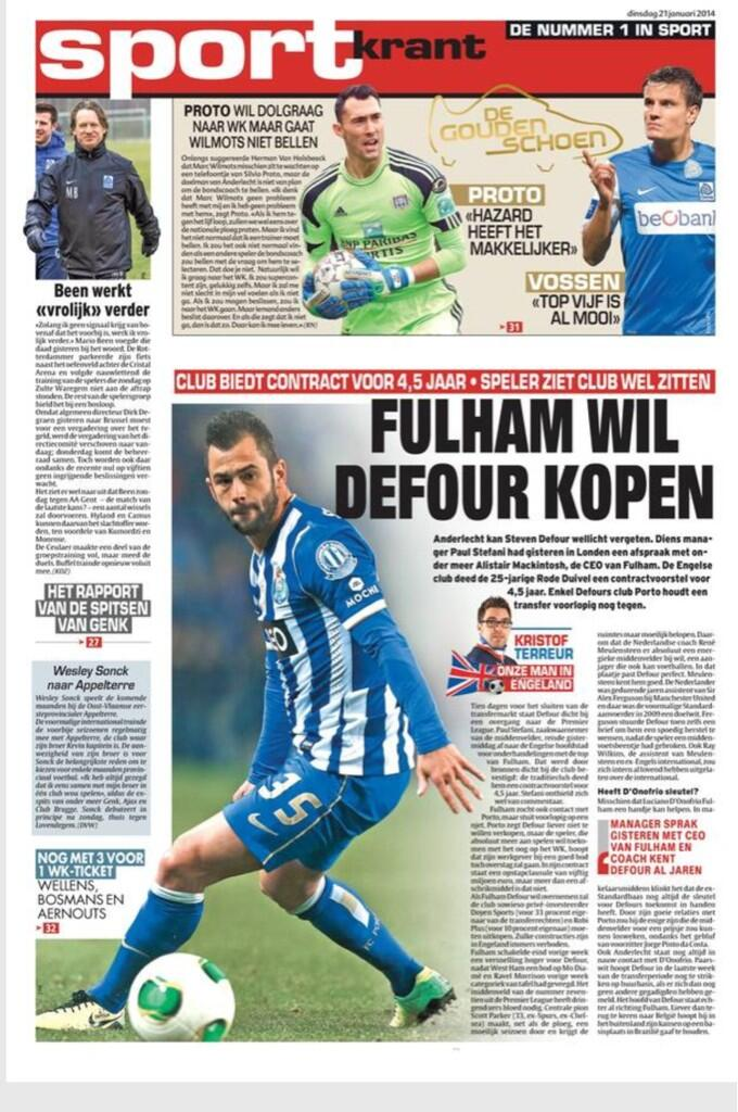FC Portos Steven Defour is in talks with Fulham about a permanent transfer [Het Laatste Nieuws]