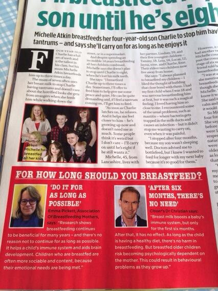 Closer magazine today. Someone's not read the research. Clue: it's not the IBCLC. #breastfeeding http://t.co/yoFIdv2ZCP
