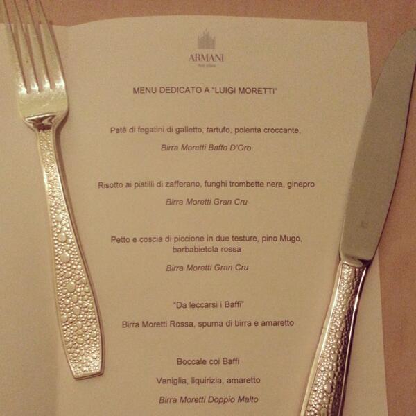 Il menù della serata @Baffo_Moretti #birramorettiinabitodasera #ristorantearmani http://t.co/h94nGA8sDe