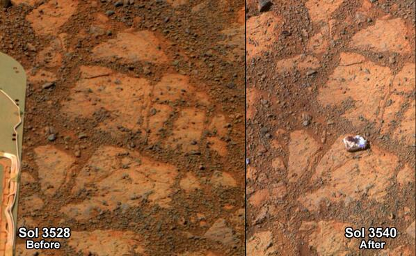 Like a rolling stone? Rock appears in front of Opportunity; rover team investigates: http://t.co/41AE4vjuYC http://t.co/DS1ylM1zZW