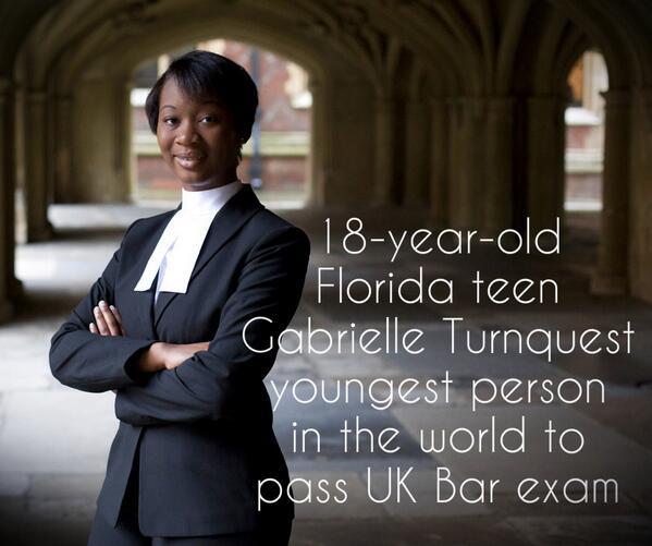 All we can say is Wow! 18-yr-old FL teen Gabrielle Turnquest youngest ever to pass UK Bar exam http://t.co/93r2seBDb3 http://t.co/qw8tQIo9F0