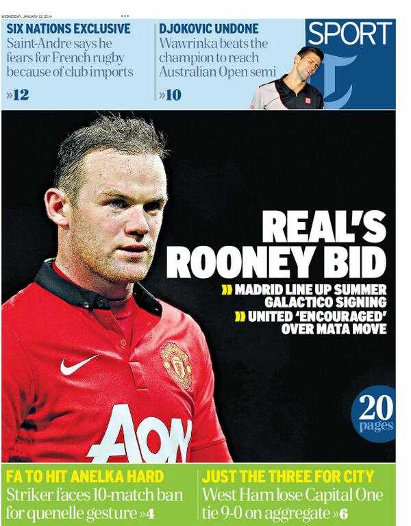 Wednesdays Telegraph claims Real Madrid are planning summer bid for Wayne Rooney