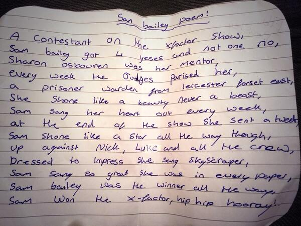 Good luck at @OfficialNTAs @SamBaileyREAL @mbsings here's a poem written by one of our Yr 8 girls to inspire you!