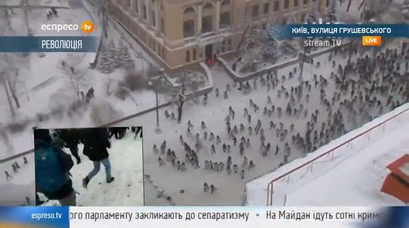 Hundreds of riot-control police push protesters off Hrushevskoho Street.  #kyiv #ukraine #euromaidan http://t.co/1dcgUCv9cm