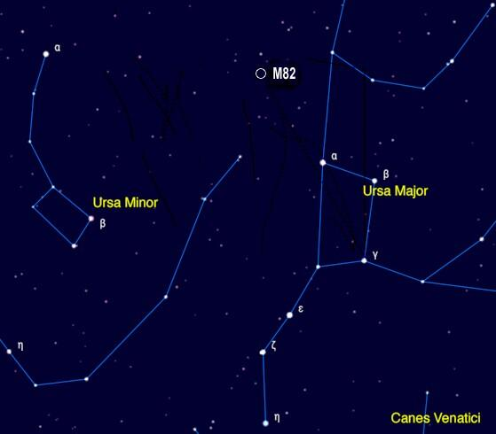 Location of M82 in relation to Ursa Major. Credit: Skymania