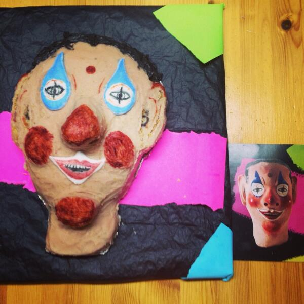 Amazing cake of Community Fieldworker Postcard No1 - the Cyprian Carnival Mask! Thanks Helen at SCC #HCFpost http://t.co/FytmYThI0y