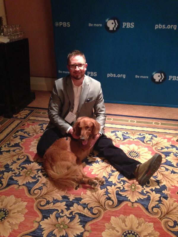 .@PBSNature's Martin Kaufmann giving Rufus a good neck rub at #TCA14. http://t.co/b9Me2V0EA6