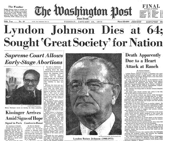 Image result for the  death of lbj