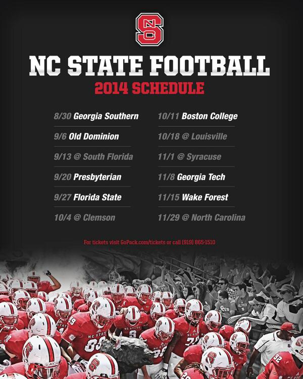 Nc State Football On Twitter Schedule For Pack14 Is Out Pack