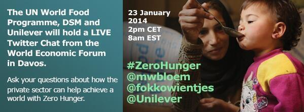 Ad stating UN World Food Programme, DSM and Unilever will hold a LIVE Twitter Chat from World Economic Forum in Davos