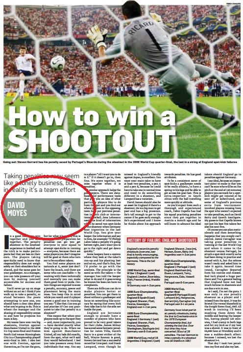 In 2010 David Moyes wrote an article in the Sunday Times titled: How to win a shootout