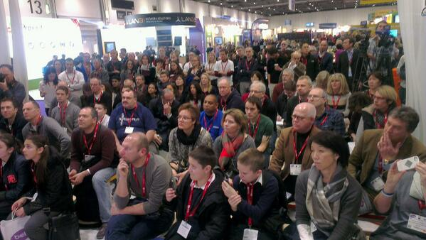 Mr Philp entertaining the masses #Bett2014 chromebooks are great! @nikkijthorpe @paganelschool http://t.co/6gn5zHN0vg
