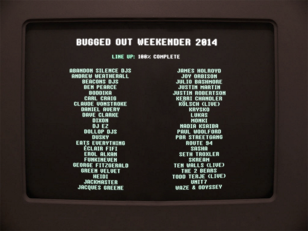#BuggedOutWeekender2014 Line Up Complete! http://t.co/gfy5M3h8zq http://t.co/EaxZv0CUFs