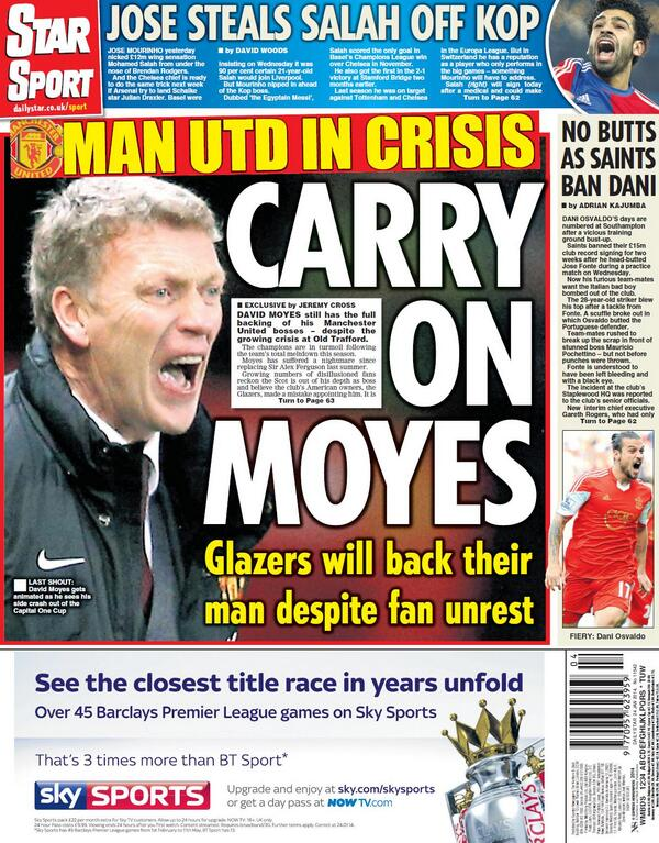 Glazers will back Manchester United manager David Moyes, for now [Telegraph & Star]