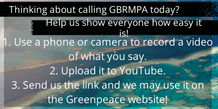 Twitter / GreenpeaceAustP: If you're calling GBRMPA this ...