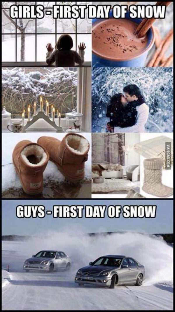 First day of snow. Girls vs. Guys http://t.co/8lyCnjq96U