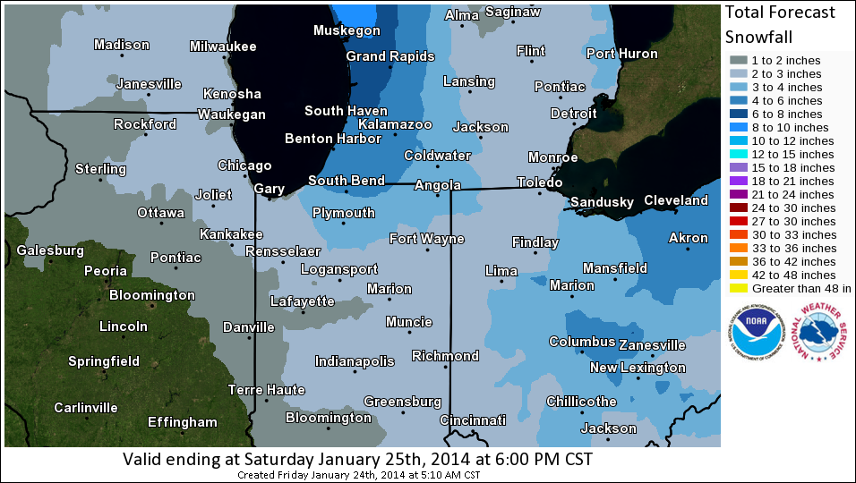 Snowfall forecast map for Jan. 24 and Jan. 25