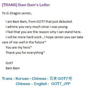 Image result for bambam got7 gd letter