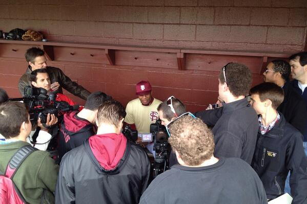 Not many college baseball players draw this type of crowd on first day of practice. #fsu #jameis http://t.co/M1nxI0NZtH