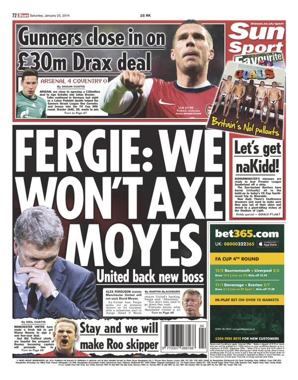Saturday Sun: Fergie: We wont axe Moyes