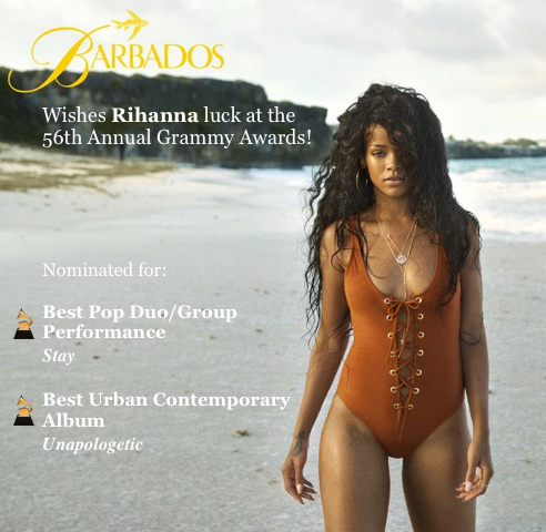 Good luck to Barbados' own @Rihanna at @TheGRAMMYs this Sunday! http://t.co/xJXa92ZUHj
