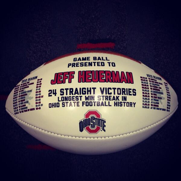 Ohio State 24 straight victories game ball